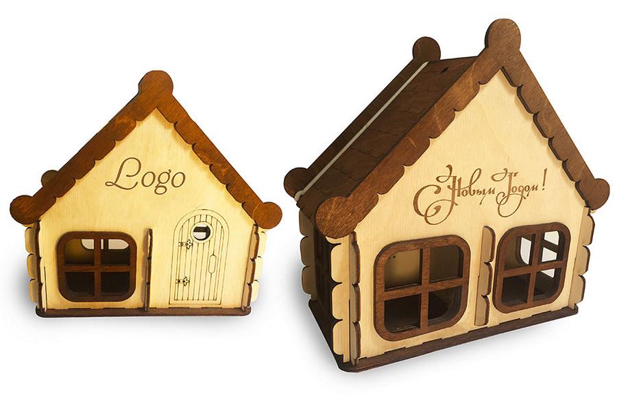 Коробочки-домики с логотипом на Новый год