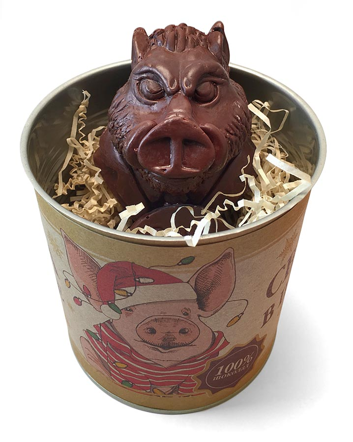 Свинина в шоколаде - фигурка свинки в консервной банке