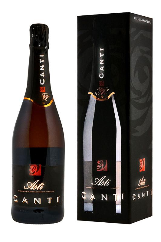 Игристое вино Canti Asti 0,7 литра. Белое сладкое в подарочной коробке