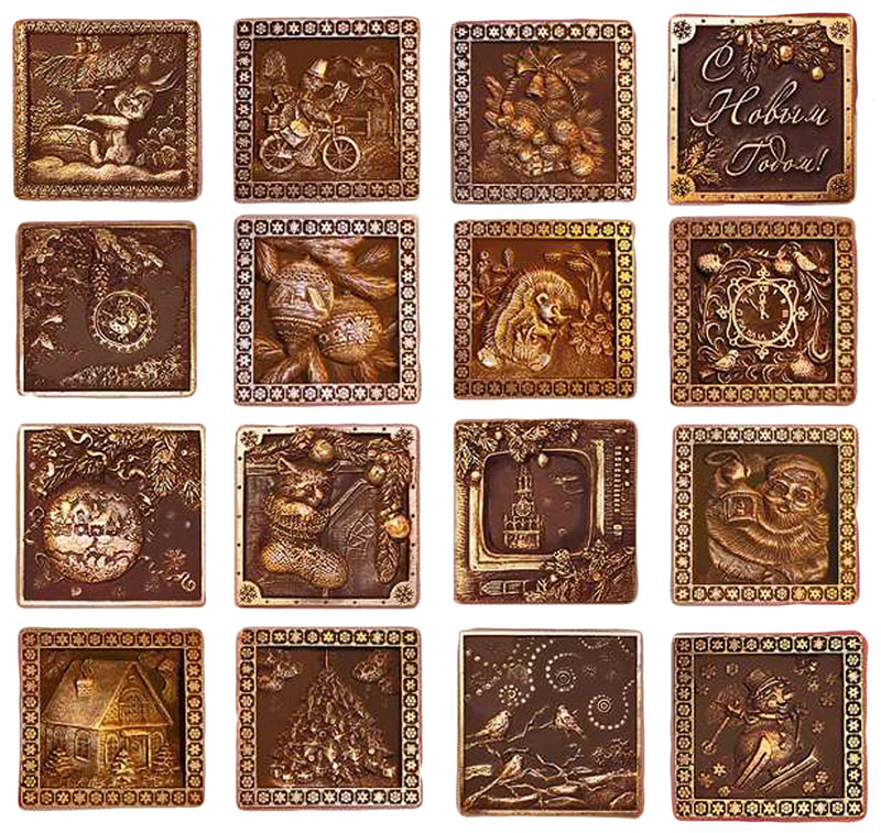 Барельефы из шоколада новогодние