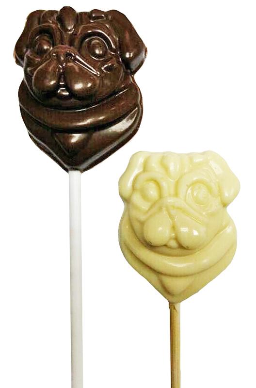 Шоколадные леденцы-мопсы на палочке