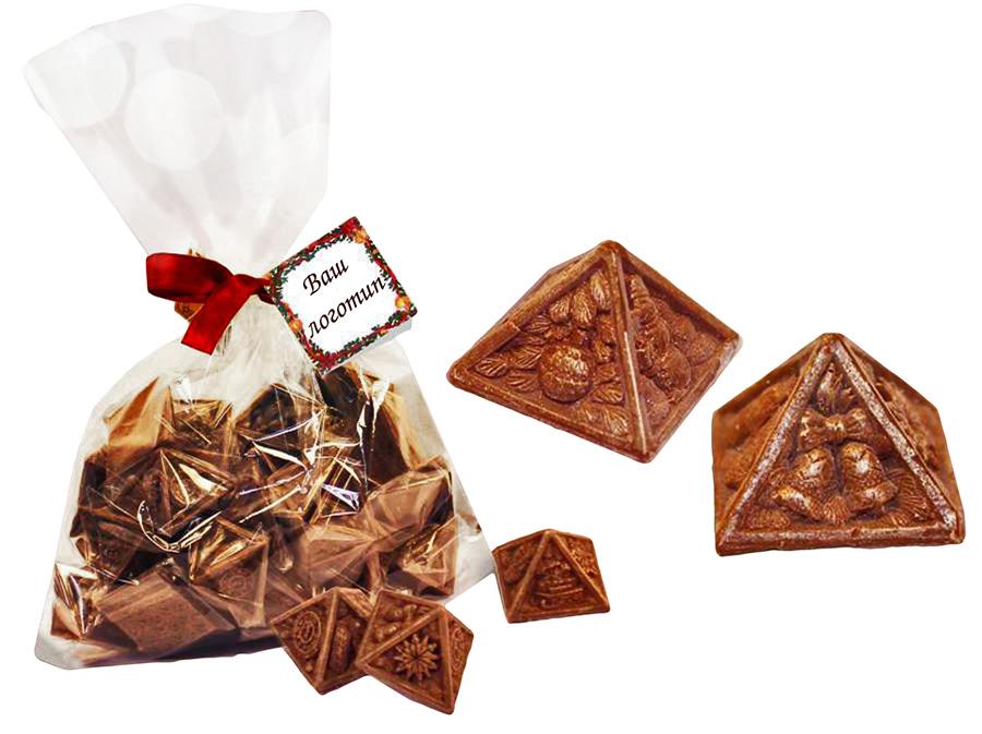Шоколадные пирамидки в мешочке с логотипом