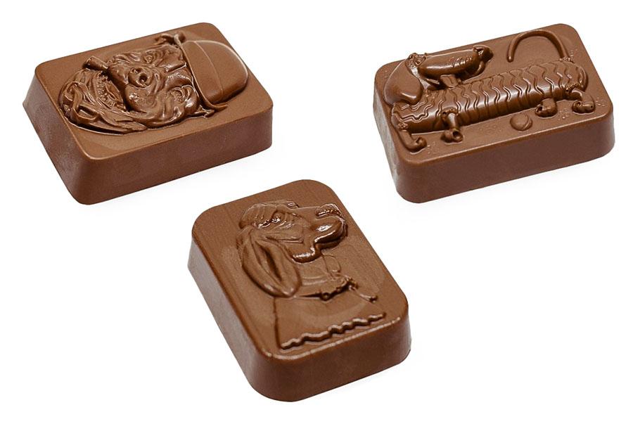 Шоколадные фигурки собачек: Барбос, Такса, Пес с сигарой