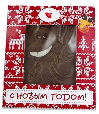 Шоколадная открытка в красной упаковке обезьянка Все супер