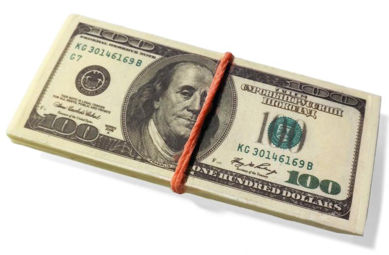 Шоколад в форме денег