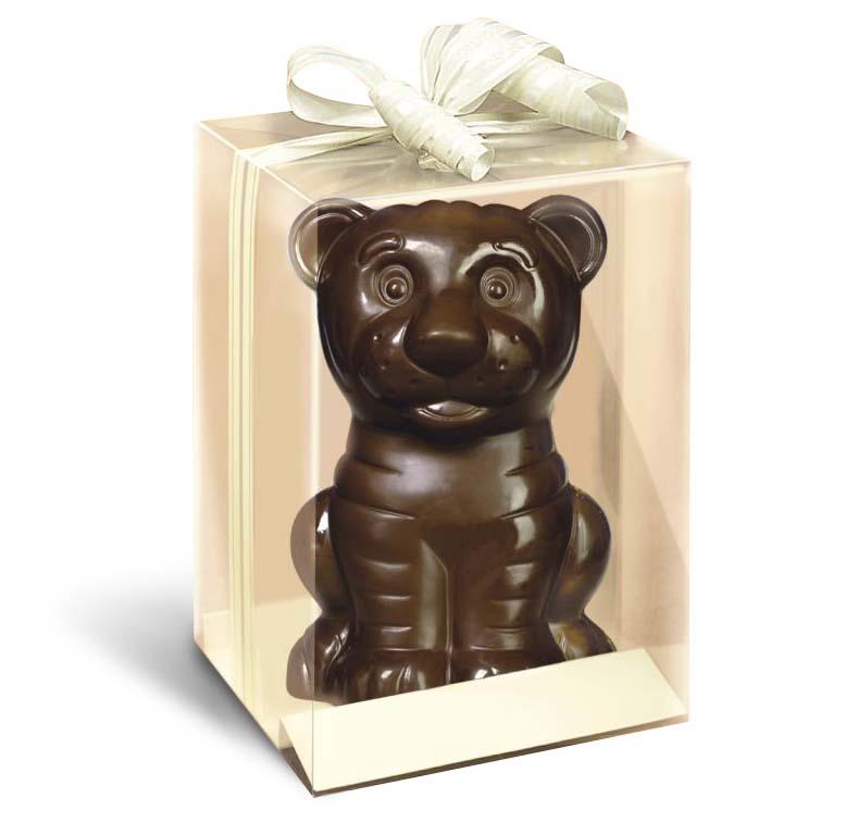 Фигурки тигров из темного, молочного белого шоколада. Символы 2022 года