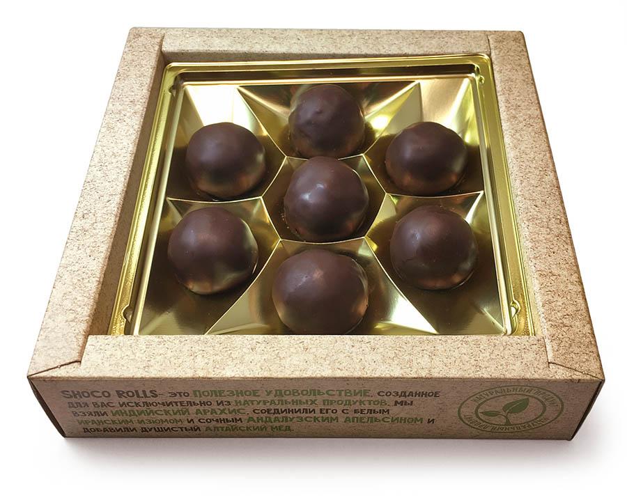 Круглые глазированные грильяжные конфеты с логотипом