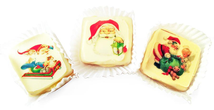 Конфеты из белого шоколада с печатью логотипа