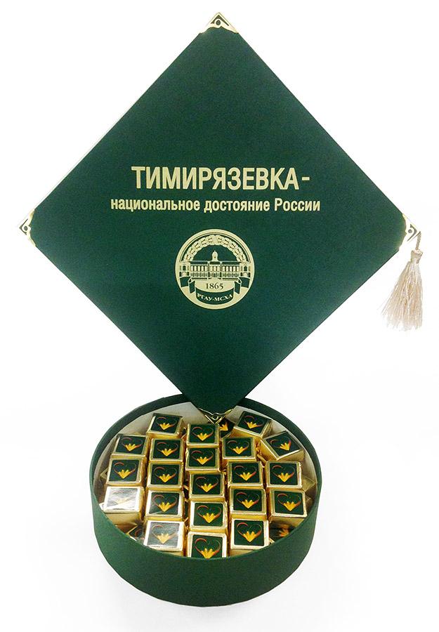 Конфеты для выпускников в коробочках с лого вуза