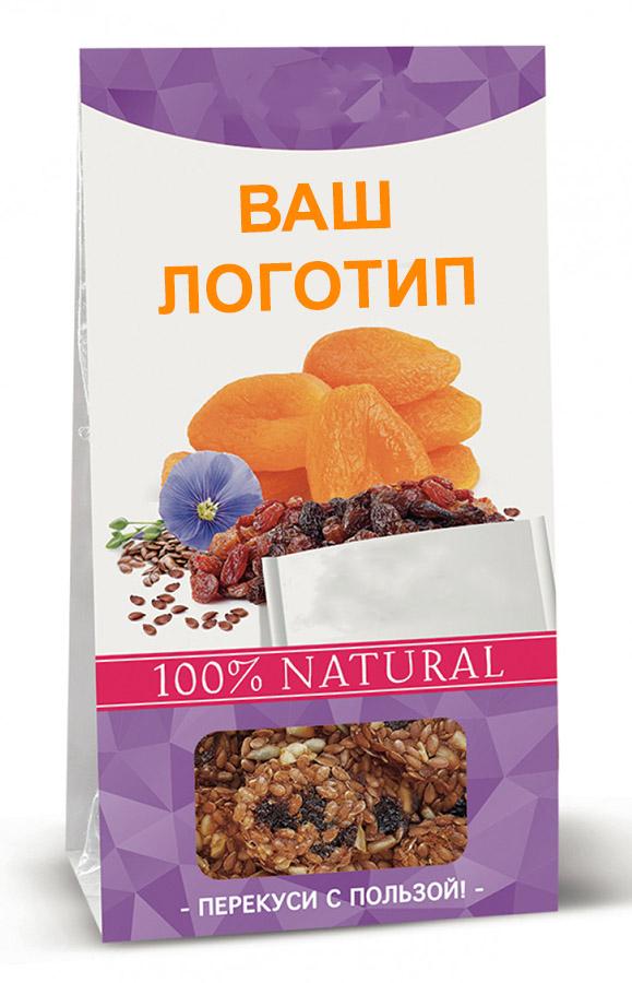 Льняное, кунжутное и другое зерновое печенье в коробках по 60 г с логотипом