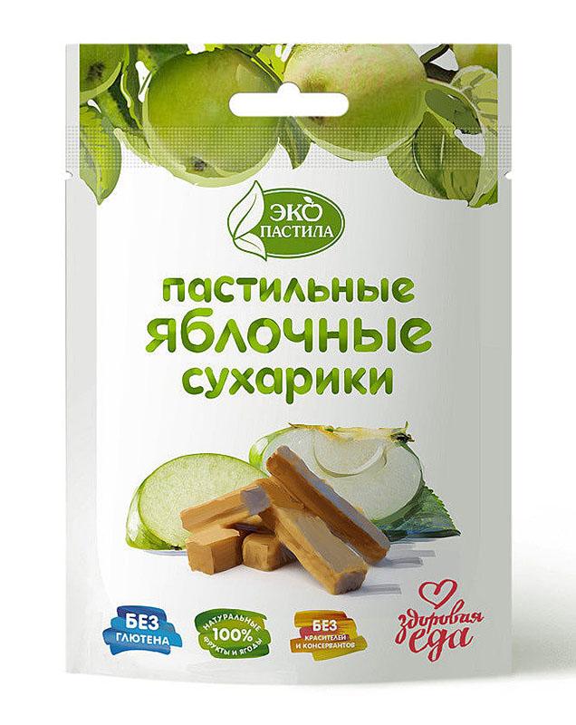 Сухарики из яблочной пастилы в пакетиках с логотипом