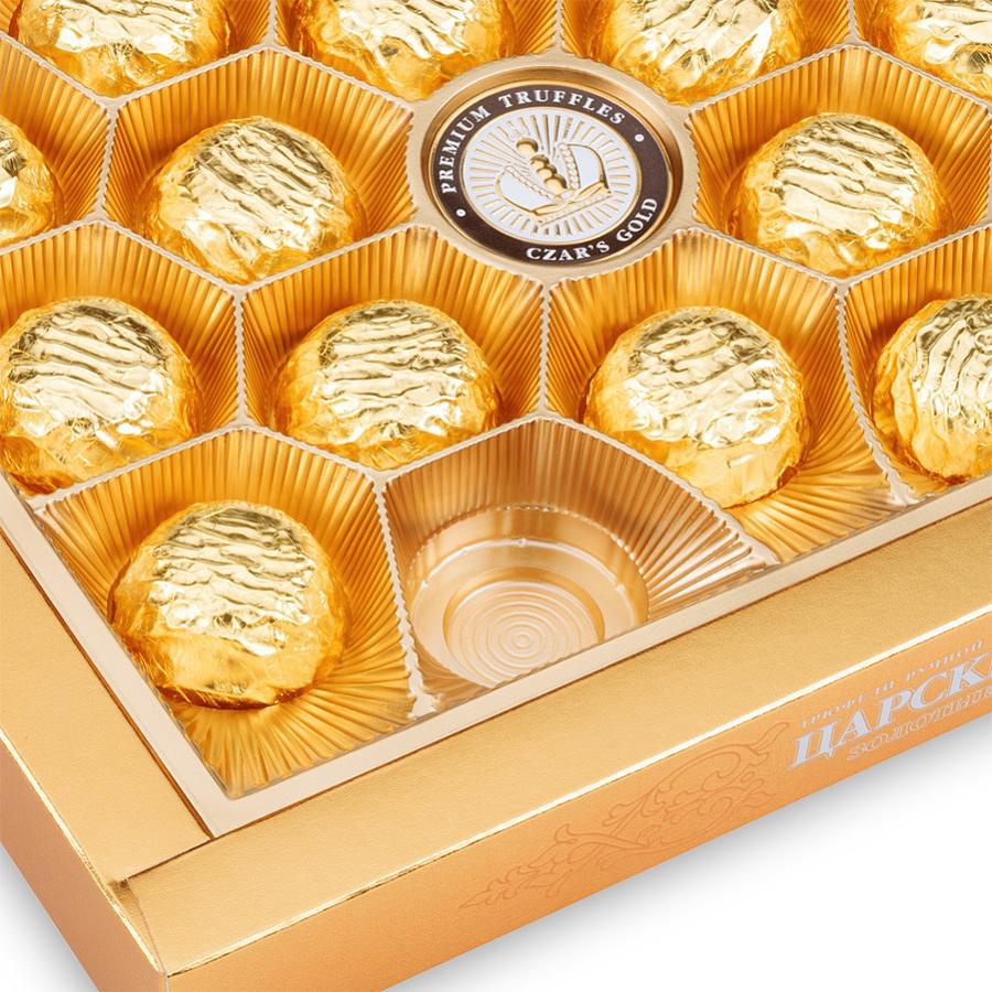 Шоколадные золотые конфеты с логотипом