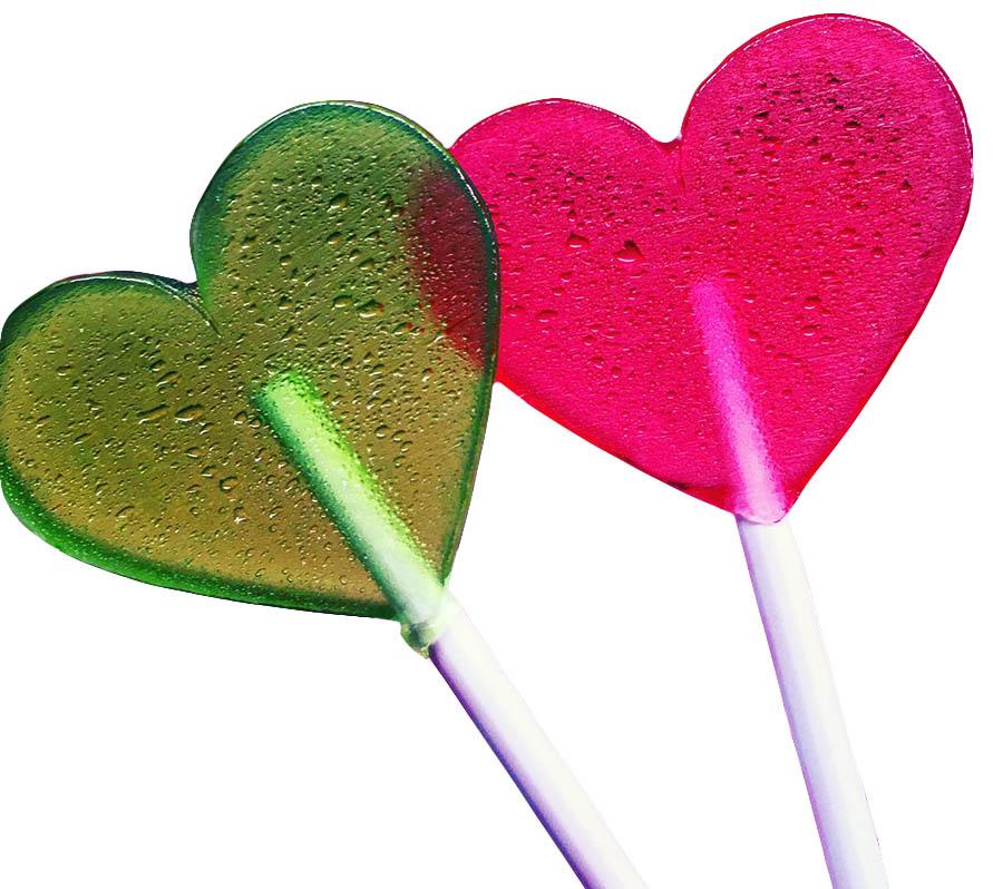 Леденцы-сердечки на палочке