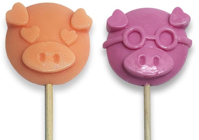 Леденцы-свинки на палочке