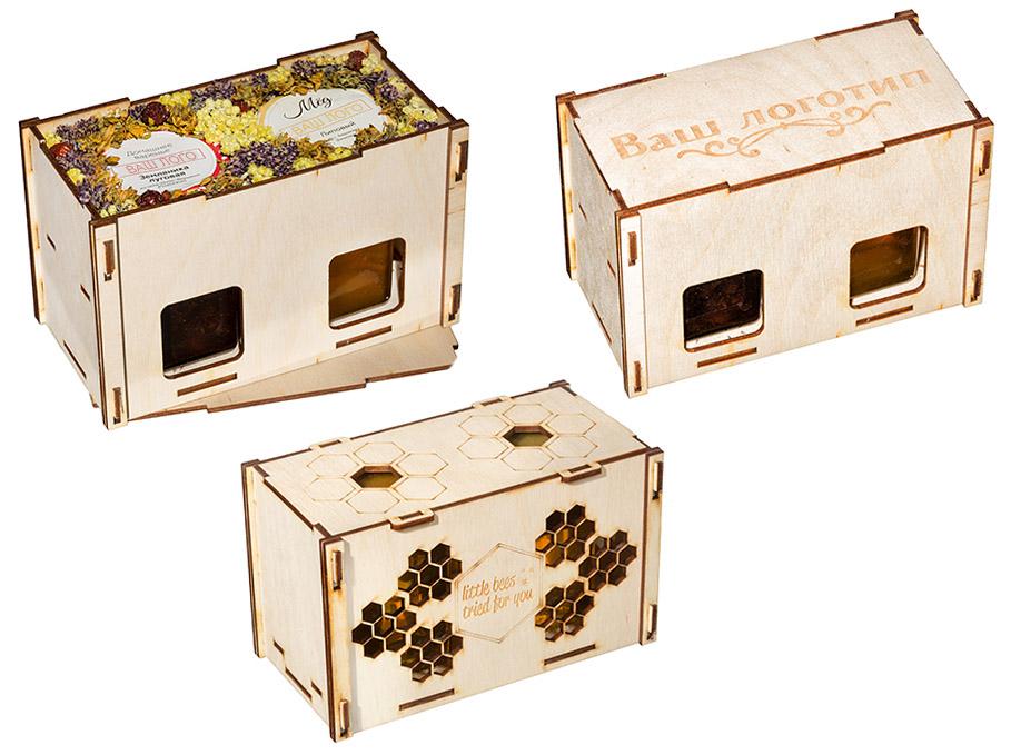 Мёд, варенье, крем-мёд в деревянной коробочке