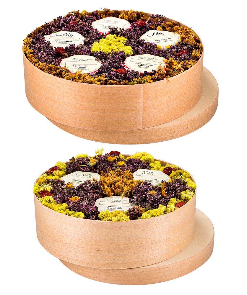 Мед, крем-мед, варенье в деревянных коробочках и туесах