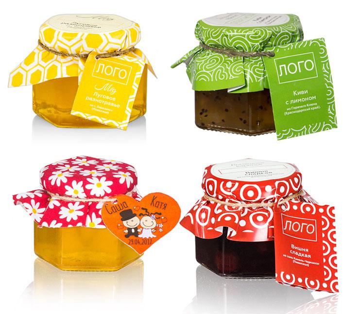 Стеклянные баночки с мёдом, вареньем, специями в коробках и туесах