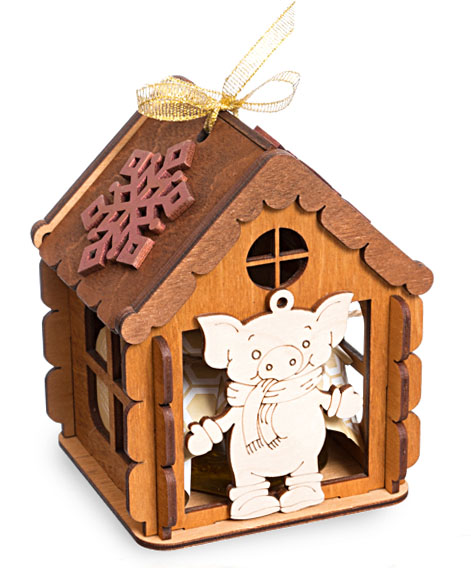 Варенье, мед, крем-мед в деревянных домиках