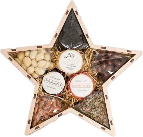 Подарочные наборы вкусностей в деревянных ящиках разной формы