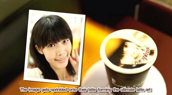 Цветной портрет на чашке кофе