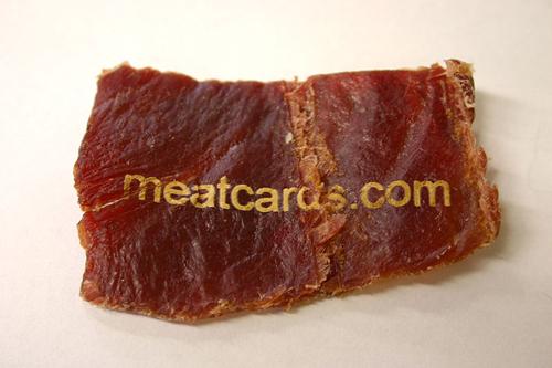 Съедобные визитки из вяленого мяса