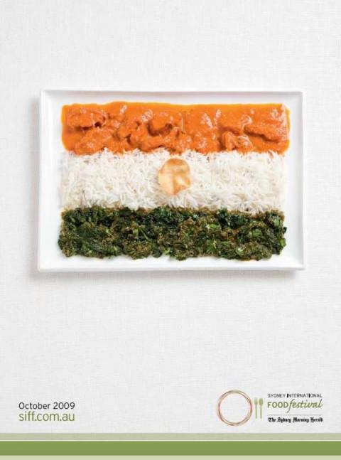 Аппетитная реклама - флаги из национальных продуктов. Индия
