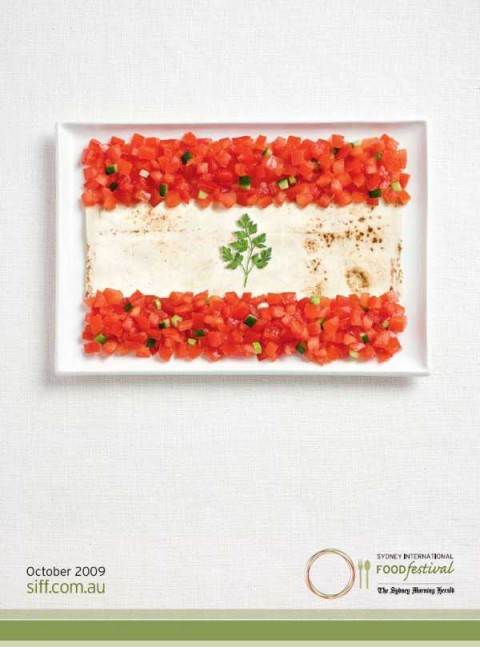 Аппетитная реклама - флаги из национальных продуктов.  Ливан