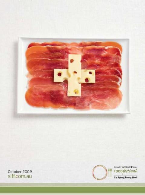 Аппетитная реклама - флаги из национальных продуктов.  Швейцария