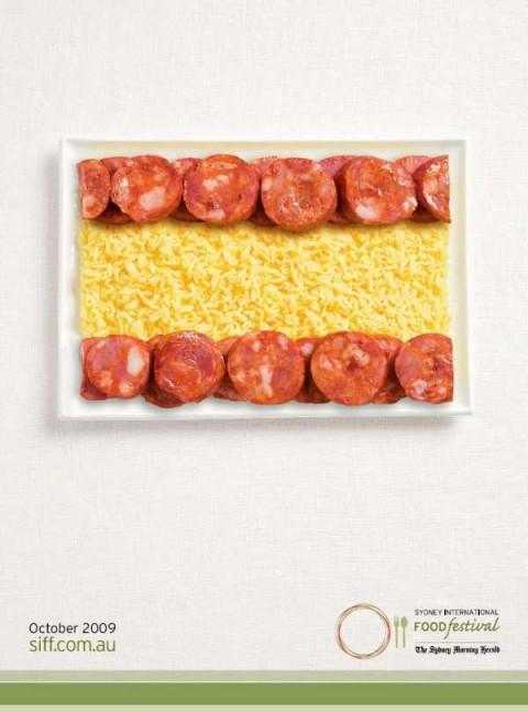 Аппетитная реклама - флаги из национальных продуктов. Испания