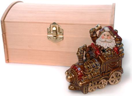Подсвечник-паровозик из керамики Дед Мороз