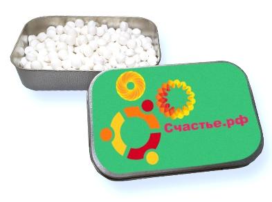 Конфеты в металлических баночках с логотипом