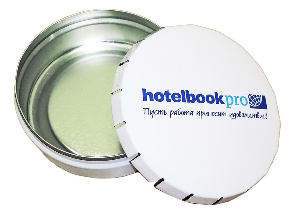 Конфеты в круглых металлических баночках Click-Clack с логотипом