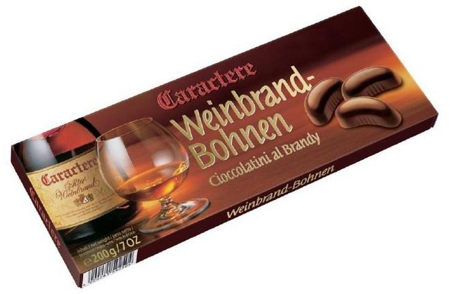 Шоколадные конфеты с ликером, виски, бренди