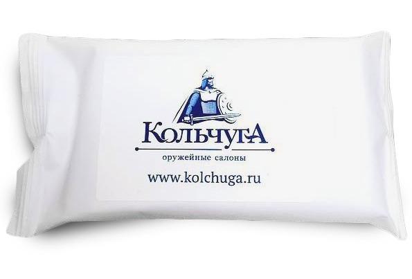 Влажные салфетки для рук и лица с логотипом оружейного магазина Кольчуга