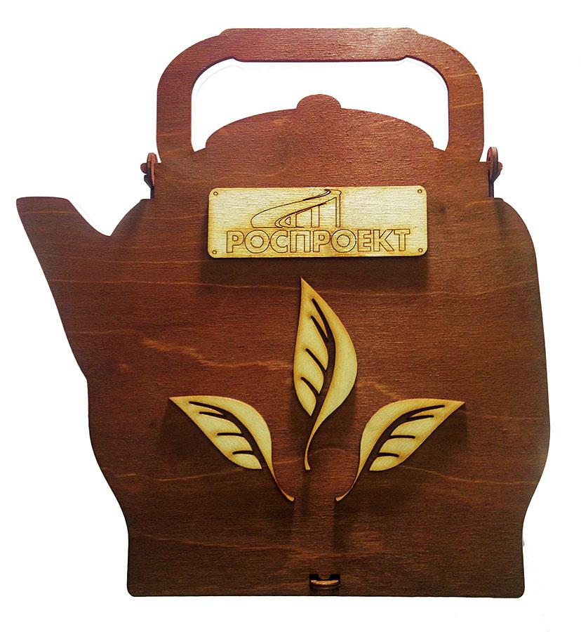 Деревянная коробочка под чай в виде чайника с логотипом