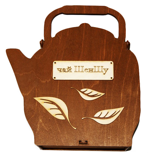 Подарочная коробка для чая из фанеры в форме чайника